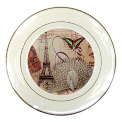 White Peacock Paris Eiffel Tower Vintage Bird Butterfly French Botanical Art Porcelain Display Plate