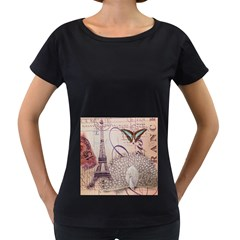 White Peacock Paris Eiffel Tower Vintage Bird Butterfly French Botanical Art Womens' Maternity T-shirt (Black)