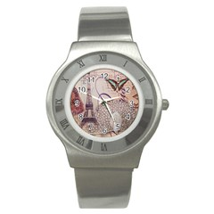 White Peacock Paris Eiffel Tower Vintage Bird Butterfly French Botanical Art Stainless Steel Watch (Unisex)
