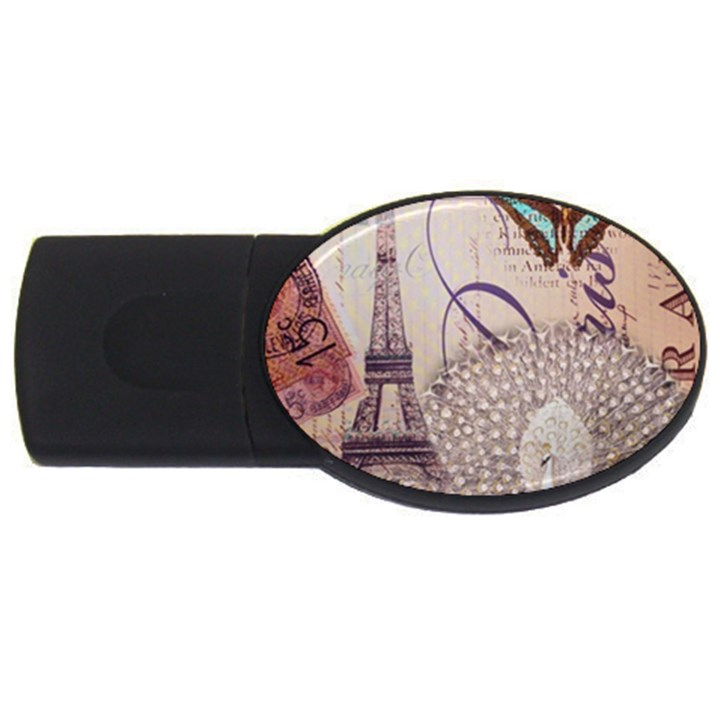 White Peacock Paris Eiffel Tower Vintage Bird Butterfly French Botanical Art 4GB USB Flash Drive (Oval)