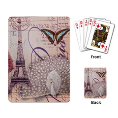 White Peacock Paris Eiffel Tower Vintage Bird Butterfly French Botanical Art Playing Cards Single Design