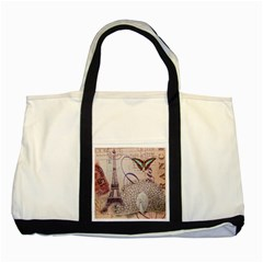 White Peacock Paris Eiffel Tower Vintage Bird Butterfly French Botanical Art Two Toned Tote Bag