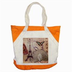 White Peacock Paris Eiffel Tower Vintage Bird Butterfly French Botanical Art Accent Tote Bag