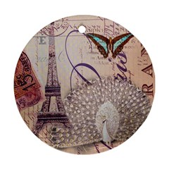 White Peacock Paris Eiffel Tower Vintage Bird Butterfly French Botanical Art Round Ornament (Two Sides)