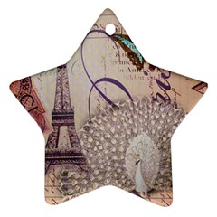 White Peacock Paris Eiffel Tower Vintage Bird Butterfly French Botanical Art Star Ornament (Two Sides)