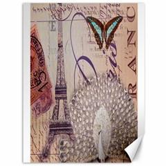 White Peacock Paris Eiffel Tower Vintage Bird Butterfly French Botanical Art Canvas 36  X 48  (unframed)