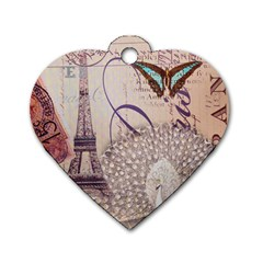White Peacock Paris Eiffel Tower Vintage Bird Butterfly French Botanical Art Dog Tag Heart (Two Sided)