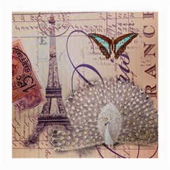 White Peacock Paris Eiffel Tower Vintage Bird Butterfly French Botanical Art Glasses Cloth (Medium, Two Sided)