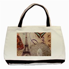White Peacock Paris Eiffel Tower Vintage Bird Butterfly French Botanical Art Twin-sided Black Tote Bag