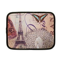 White Peacock Paris Eiffel Tower Vintage Bird Butterfly French Botanical Art Netbook Case (Small)