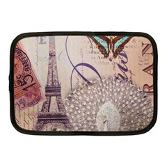 White Peacock Paris Eiffel Tower Vintage Bird Butterfly French Botanical Art Netbook Case (Medium)