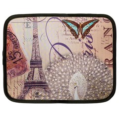 White Peacock Paris Eiffel Tower Vintage Bird Butterfly French Botanical Art Netbook Case (Large)