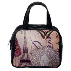 White Peacock Paris Eiffel Tower Vintage Bird Butterfly French Botanical Art Classic Handbag (one Side)