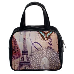 White Peacock Paris Eiffel Tower Vintage Bird Butterfly French Botanical Art Classic Handbag (two Sides)