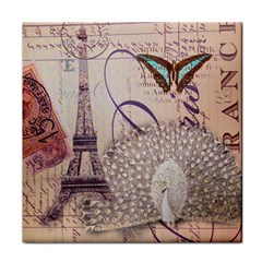 White Peacock Paris Eiffel Tower Vintage Bird Butterfly French Botanical Art Face Towel