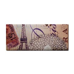 White Peacock Paris Eiffel Tower Vintage Bird Butterfly French Botanical Art Hand Towel