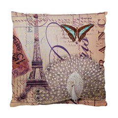 White Peacock Paris Eiffel Tower Vintage Bird Butterfly French Botanical Art Cushion Case (Single Sided)