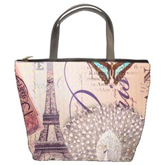 White Peacock Paris Eiffel Tower Vintage Bird Butterfly French Botanical Art Bucket Bag