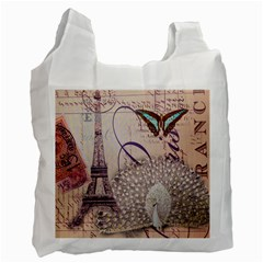 White Peacock Paris Eiffel Tower Vintage Bird Butterfly French Botanical Art Recycle Bag (one Side)