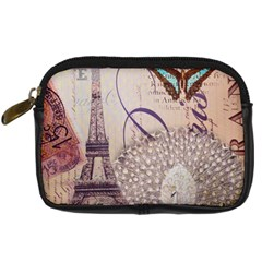 White Peacock Paris Eiffel Tower Vintage Bird Butterfly French Botanical Art Digital Camera Leather Case