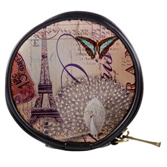 White Peacock Paris Eiffel Tower Vintage Bird Butterfly French Botanical Art Mini Makeup Case