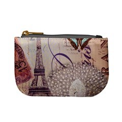 White Peacock Paris Eiffel Tower Vintage Bird Butterfly French Botanical Art Coin Change Purse