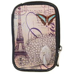 White Peacock Paris Eiffel Tower Vintage Bird Butterfly French Botanical Art Compact Camera Leather Case