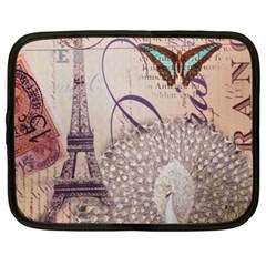 White Peacock Paris Eiffel Tower Vintage Bird Butterfly French Botanical Art Netbook Case (XL)