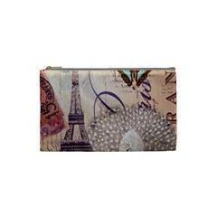 White Peacock Paris Eiffel Tower Vintage Bird Butterfly French Botanical Art Cosmetic Bag (Small)