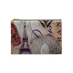 White Peacock Paris Eiffel Tower Vintage Bird Butterfly French Botanical Art Cosmetic Bag (medium)