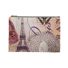 White Peacock Paris Eiffel Tower Vintage Bird Butterfly French Botanical Art Cosmetic Bag (Large)