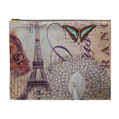 White Peacock Paris Eiffel Tower Vintage Bird Butterfly French Botanical Art Cosmetic Bag (XL)