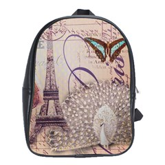 White Peacock Paris Eiffel Tower Vintage Bird Butterfly French Botanical Art School Bag (Large)