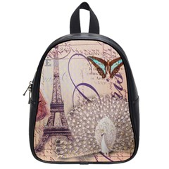 White Peacock Paris Eiffel Tower Vintage Bird Butterfly French Botanical Art School Bag (Small)