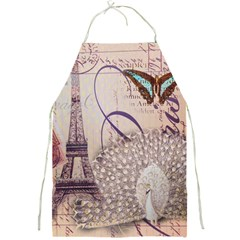 White Peacock Paris Eiffel Tower Vintage Bird Butterfly French Botanical Art Apron