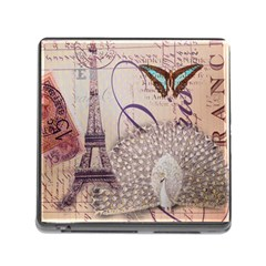 White Peacock Paris Eiffel Tower Vintage Bird Butterfly French Botanical Art Memory Card Reader with Storage (Square)
