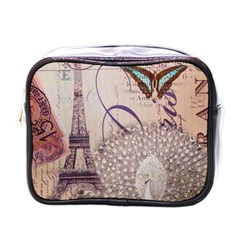 White Peacock Paris Eiffel Tower Vintage Bird Butterfly French Botanical Art Mini Travel Toiletry Bag (one Side)