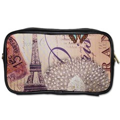 White Peacock Paris Eiffel Tower Vintage Bird Butterfly French Botanical Art Travel Toiletry Bag (One Side)