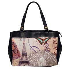 White Peacock Paris Eiffel Tower Vintage Bird Butterfly French Botanical Art Oversize Office Handbag (two Sides)