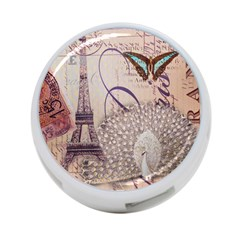 White Peacock Paris Eiffel Tower Vintage Bird Butterfly French Botanical Art 4 Port Usb Hub (two Sides)