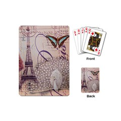 White Peacock Paris Eiffel Tower Vintage Bird Butterfly French Botanical Art Playing Cards (Mini)