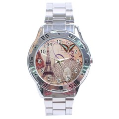 White Peacock Paris Eiffel Tower Vintage Bird Butterfly French Botanical Art Stainless Steel Watch (Men s)