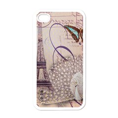 White Peacock Paris Eiffel Tower Vintage Bird Butterfly French Botanical Art Apple Iphone 4 Case (white)