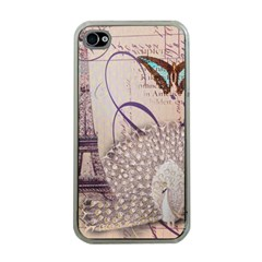White Peacock Paris Eiffel Tower Vintage Bird Butterfly French Botanical Art Apple iPhone 4 Case (Clear)