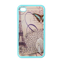 White Peacock Paris Eiffel Tower Vintage Bird Butterfly French Botanical Art Apple Iphone 4 Case (color)