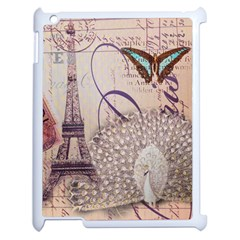 White Peacock Paris Eiffel Tower Vintage Bird Butterfly French Botanical Art Apple iPad 2 Case (White)