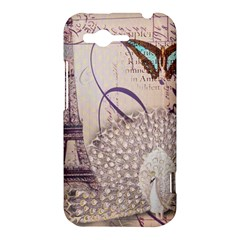White Peacock Paris Eiffel Tower Vintage Bird Butterfly French Botanical Art HTC Rhyme Hardshell Case