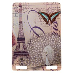 White Peacock Paris Eiffel Tower Vintage Bird Butterfly French Botanical Art Kindle Touch 3G Hardshell Case