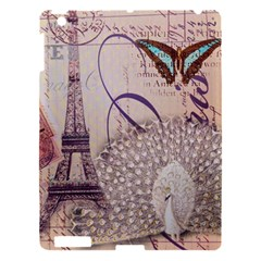 White Peacock Paris Eiffel Tower Vintage Bird Butterfly French Botanical Art Apple Ipad 3/4 Hardshell Case