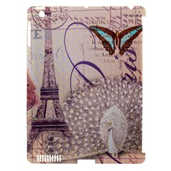 White Peacock Paris Eiffel Tower Vintage Bird Butterfly French Botanical Art Apple Ipad 3/4 Hardshell Case (compatible With Smart Cover)